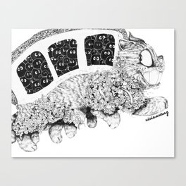 Studio Ghibli Cat Bus Black & White Zentangle Drawing Doodle Canvas Print