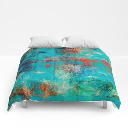Aztec Turquoise Stone Abstract Texture Design Art Comforters