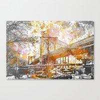 brooklyn bridge Canvas Prints featuring Brooklyn Bridge by LebensART