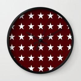 Stars on Maroon Wall Clock