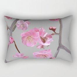 painted plum blossom light grey Rectangular Pillow
