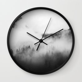 Mist Filled Valley With Trees Poking Through Black And White Wall Clock