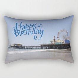Happy Birthday Santa Monica Pier Rectangular Pillow