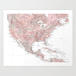Map of USA Mexico and the Caribbean Sea in dusty pink and grey watercolor Art Print