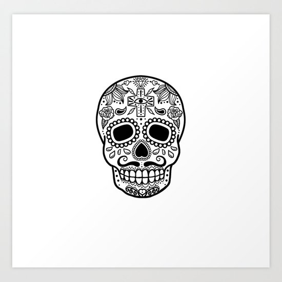 Mexican Skull - White Edition Art Print