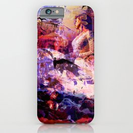 Woman with swallows and horses - mixed media iPhone Case