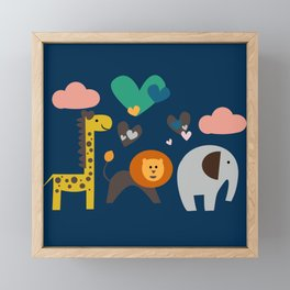 Jungle Run Blue Framed Mini Art Print