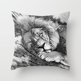 AnimalArtBW_Lion_20170604_by_JAMColorsSpecial Throw Pillow