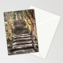 Stairs in forest Stationery Cards