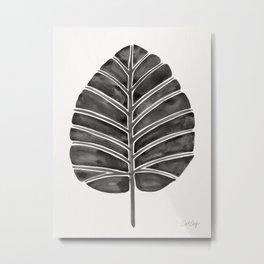 Elephant Ear Alocasia – Black Palette Metal Print