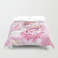 madoka magica Duvet Covers featuring Madoka Kaname (Yukata & Cherry Blossom edit) by Yue Graphic Design