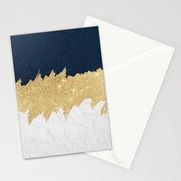 Navy blue white lace gold glitter brushstrokes Stationery Cards