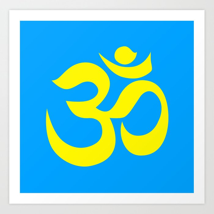yellow aum om reiki symbol on blue background art print by