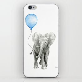 Baby Animal Elephant Watercolor Blue Balloon Baby Boy Nursery Room Decor iPhone Skin