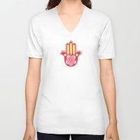 hamsa V-neck T-shirts featuring Hamsa by Moirarae