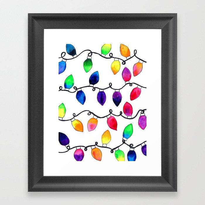 Colorful Christmas Holiday Light Bulbs Gerahmter Kunstdruck