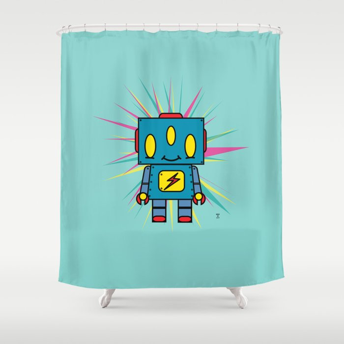 Vintage Kid Robot Shower Curtain