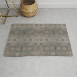 Lace Coin Polka Dots Pattern with Silver Leaf Background Rug