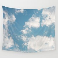 clouds Wall Tapestries featuring Clouds by Rebekah Joan