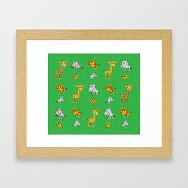 Cute Jungle Animals Pattern  Framed Art Print