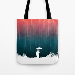 Meteoric rainfall Tote Bag