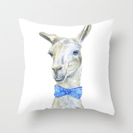Llama with a Bow Tie Watercolor Throw Pillow