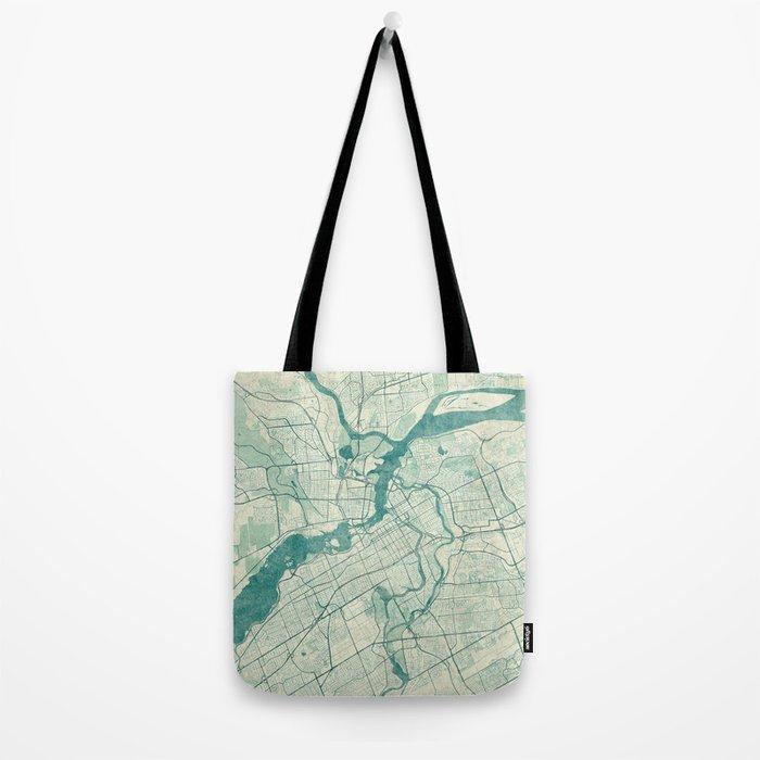 Ottawa Map Blue Vintage Tote Bag