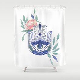 Watercolor Floral Hamsa Hand Shower Curtain