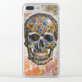 Abstract modern art painting ... Skull Clear iPhone Case