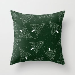Christmas Trees Green Throw Pillow