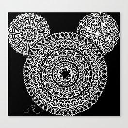 Black and White Bear Mandala Canvas Print