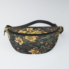 Yellow Flowers Woodcuts Fanny Pack
