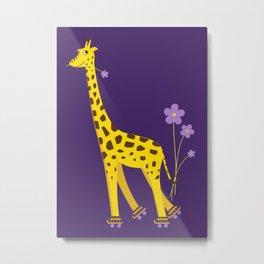Funny Giraffe Roller Skating Metal Print