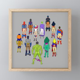 Superhero Butts - Power Couple on Grey Framed Mini Art Print