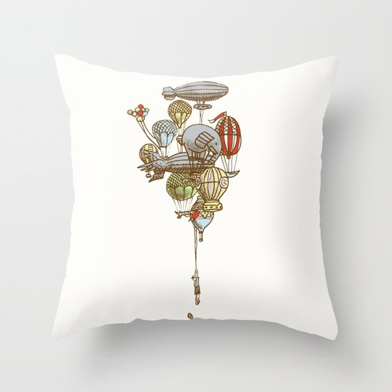 The Great Balloon Adventure Throw Pillow