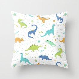 Space Dinosaurs on Orange + Blue Throw Pillow