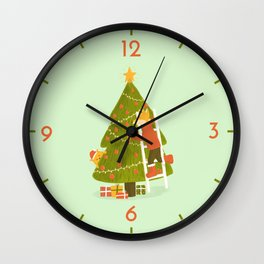 Merry Christmas Mr. Fox Wall Clock