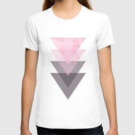 Pink and Grey Geometric Art T-shirt