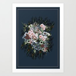 Moody floral on velvet Art Print
