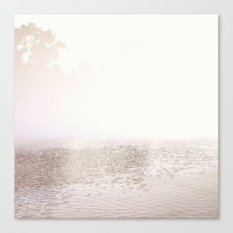 Monochromatic, Silver, Modern, Contemporary, Abstract Water Scape, Minimalist  Canvas Print