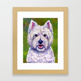 Colorful West Highland White Terrier Dog Framed Art Print