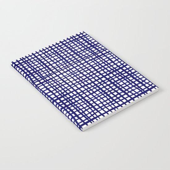 Grid indigo blue bold dramatic modern minimal abstract painting lines gridded pattern print minimal Notebook