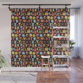 Color Block Alphabet -Black BG Wall Mural