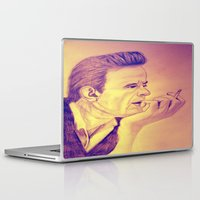 johnny cash Laptop & iPad Skins featuring Johnny Cash Vintage by KOverbee