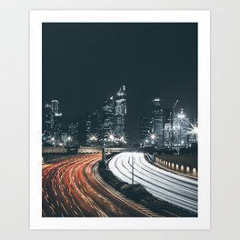 Night city long exposure Art Print