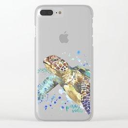 Sea Turtle Pura Vida Watercolor Clear iPhone Case