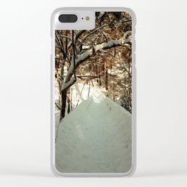 Snowshoeing through Vaughan's Woods Clear iPhone Case