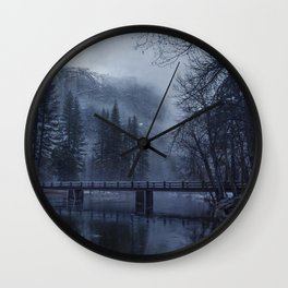 Swinging Bridge over Merced River in Yosemite National Park in the blue of the Early morning Wall Clock