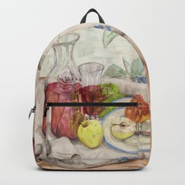 Still life of fruit and wine - Painting Backpack