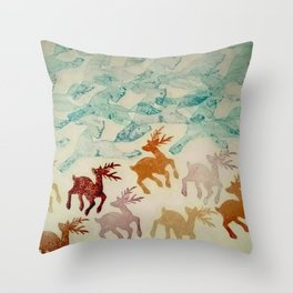 Sprinting Deer and Galloping Horses Throw Pillow